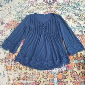 Plus Size Bell Sleeve Lace Detail Blue Peasant Top